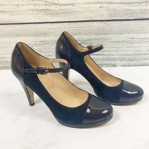 Franco Sarto navy suede patent leather Mary Janes